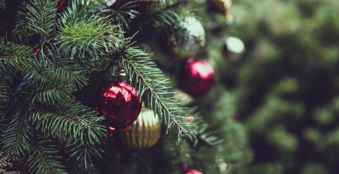 röd och guldig julkula i gran