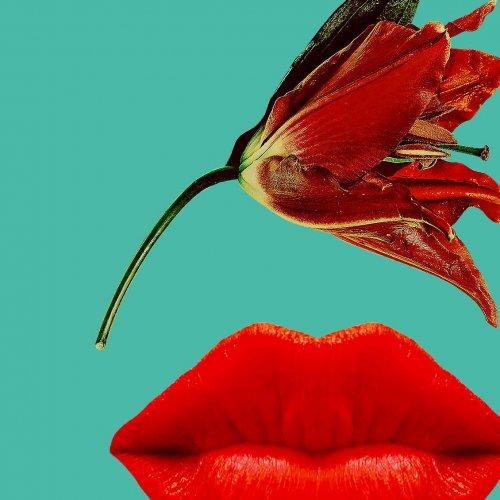 Konst av röda läppar och en blomma från Designgymnasiet.