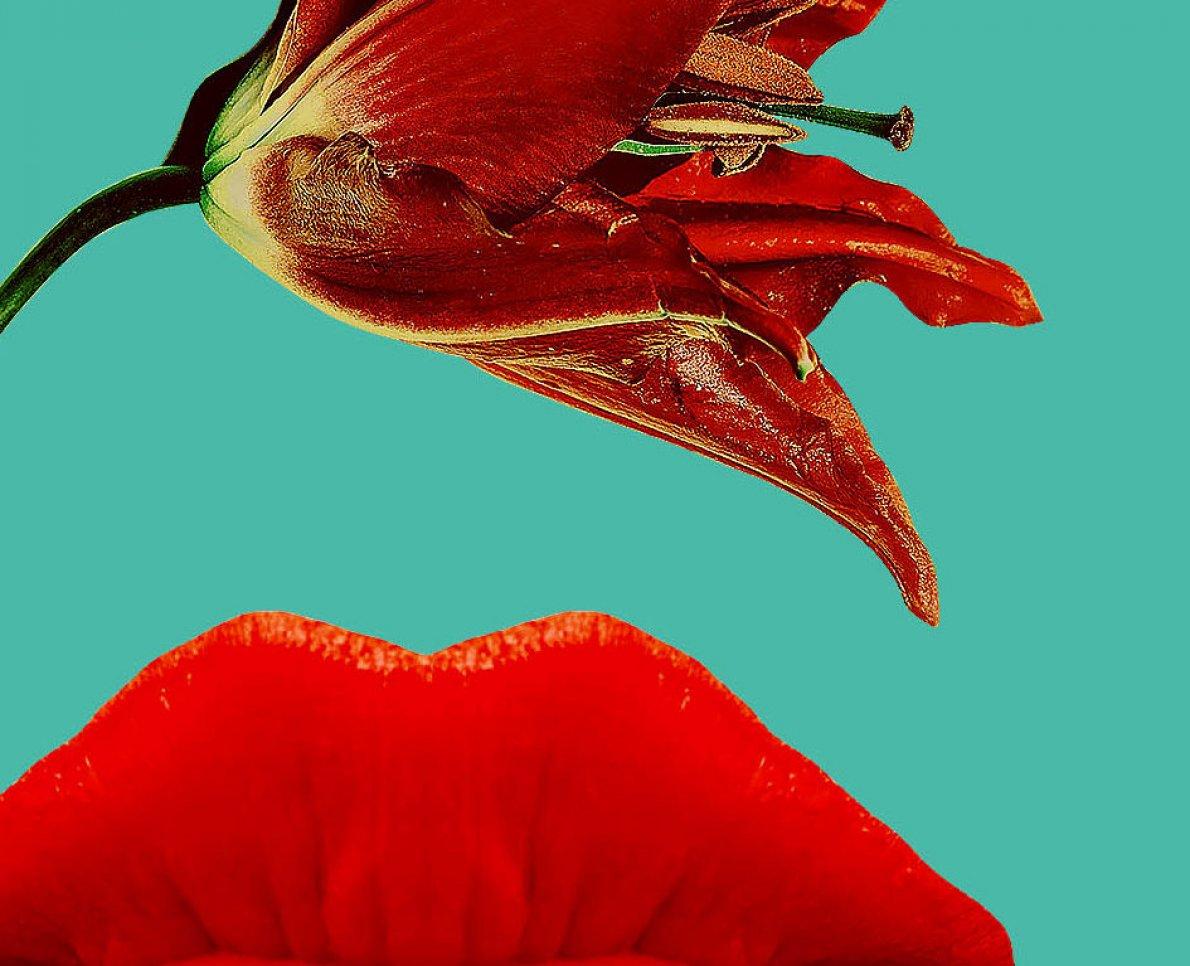 Närbild på en blomma och läpp - konstverk på designgymnasiet