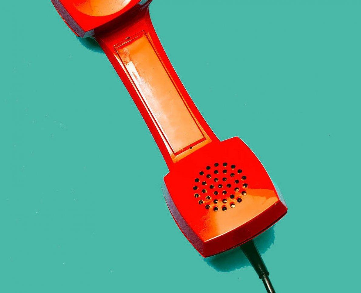 Bild på en retrotelefon på designgymnasiet